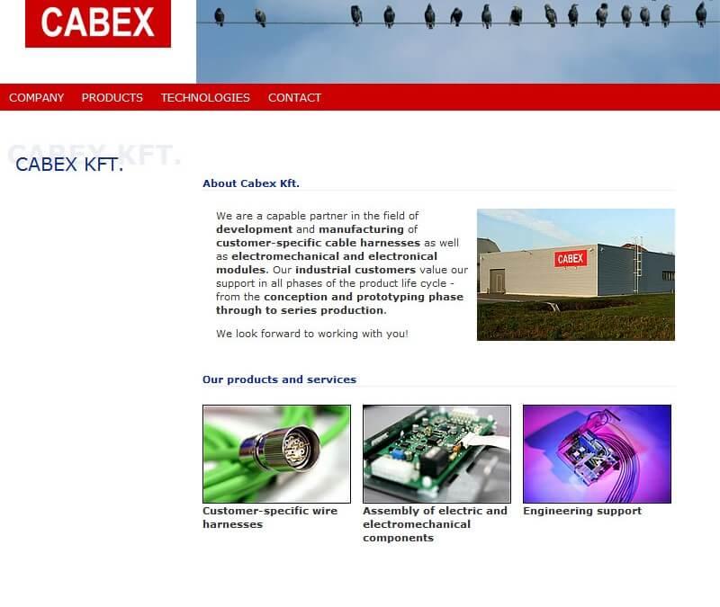 Überarbeitung der Website Cabex.hu