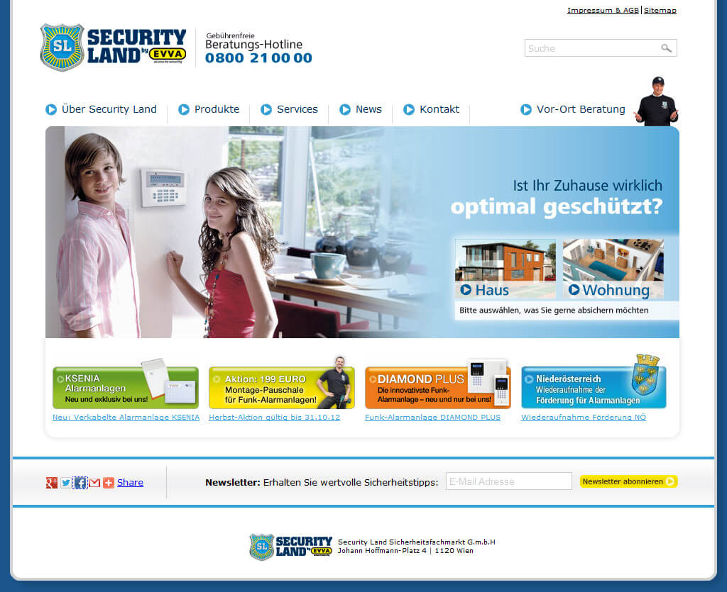 Referenz Website www.securityland.at