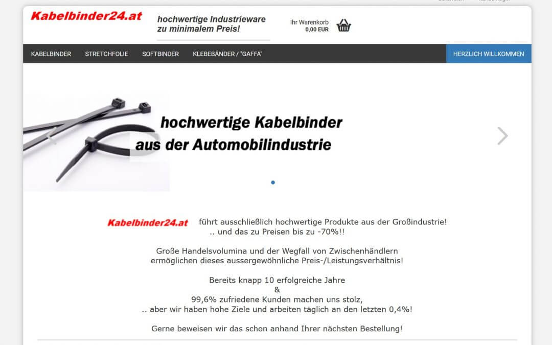Migration Onlineshop Kabelbinder24.at