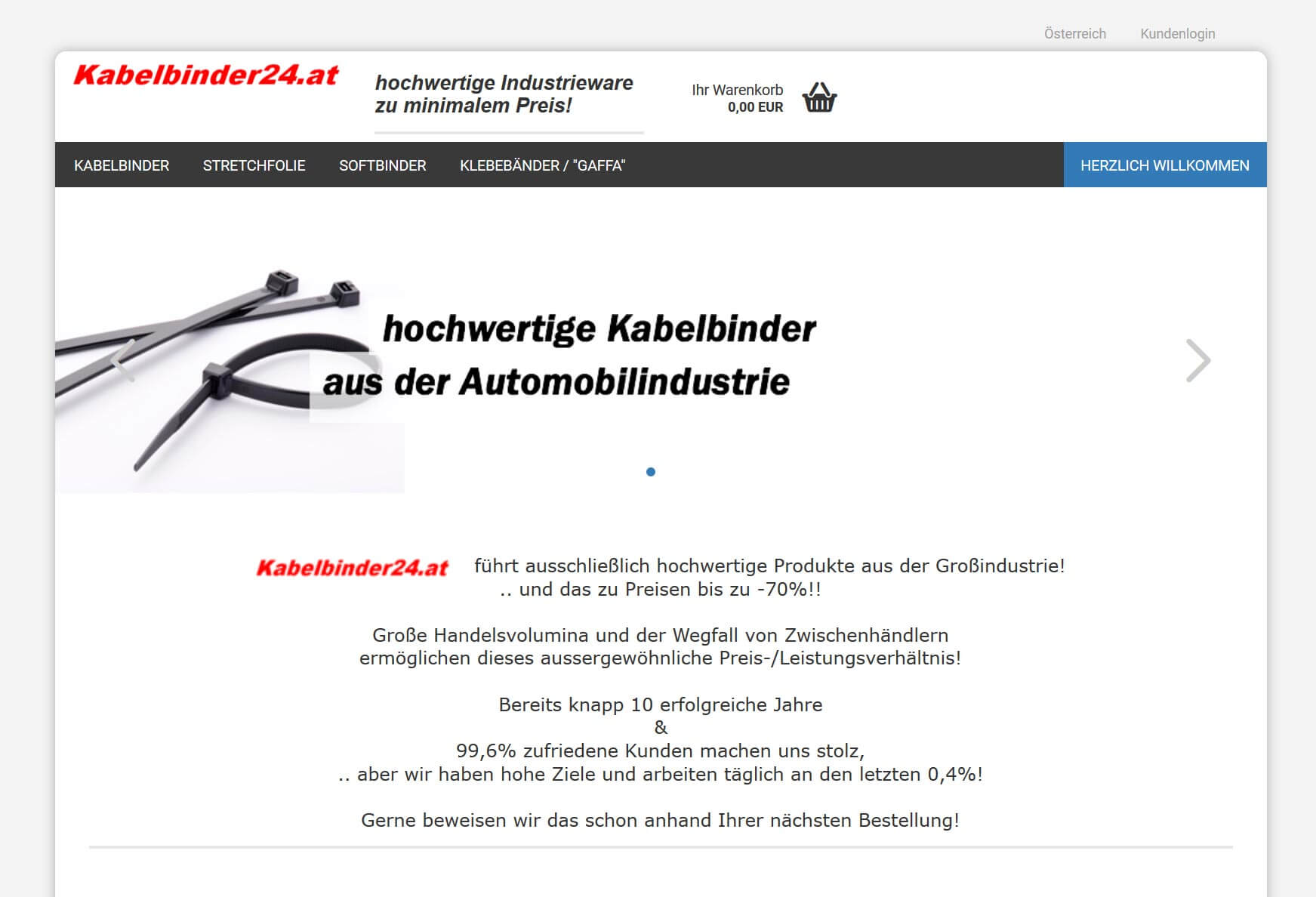 Screenshot Onlineshop Kabelbinder24.com