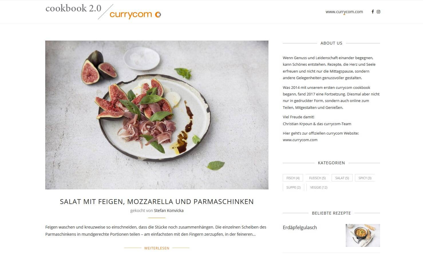 Screenshot Food-Blog cookbook.currycom.com - mit WordPress erstellt