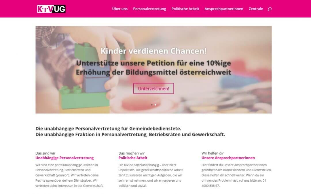 Relaunch Website KIV/UG mit WordPress