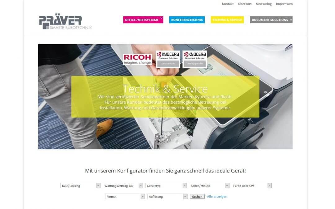 PRÄVER: WordPress-Website & Konfigurator